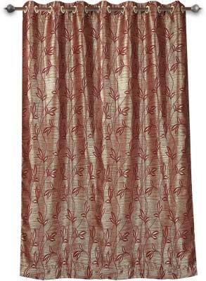 Mahamantra Polyester Maroon Solid Eyelet Window Curtain