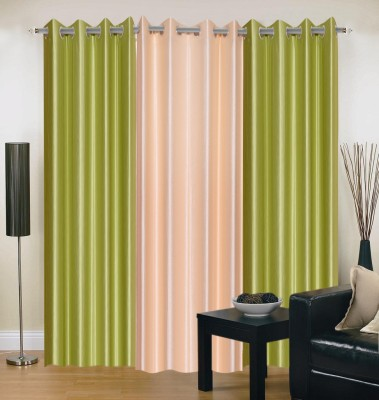 Brand Decor Polyester Green, Beige Solid Eyelet Long Door Curtain