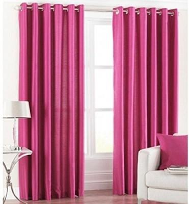PHM Polyester Pink Plain Eyelet Door Curtain