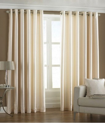 Deco Home Polyester Cream Plain Eyelet Door Curtain