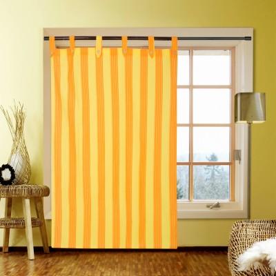 Kings Polycotton Orange Self Design Eyelet Door Curtain