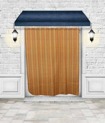 Lukluck Cotton Brown Abstract Ring Rod Door Curtain
