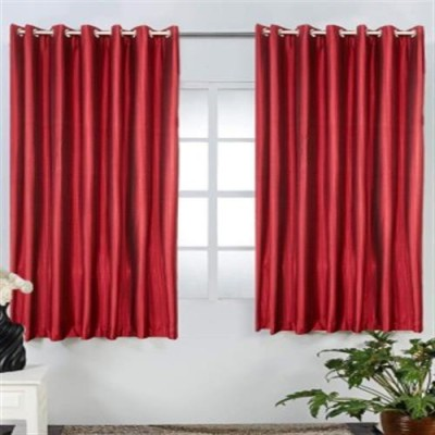 Profabhome Polyester Maroon Solid Eyelet Window Curtain