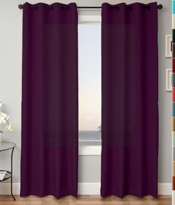 Kwality Polyester Purple Plain Eyelet Door Curtain