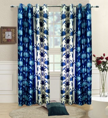 Homefab India Polyester Blue Paisley Eyelet Window Curtain