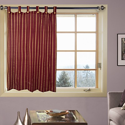 Kings Polycotton Brown Floral Tab Top Window Curtain