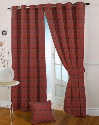 Presto Polyester Maroon Floral Eyelet Window Curtain