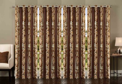 Ville Style Polyester Brown Abstract Eyelet Door Curtain