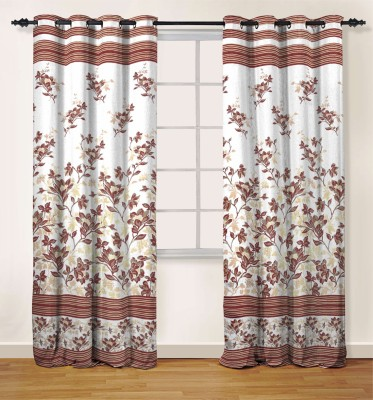 Oro Decor Polyester Rosewood Floral Eyelet Door Curtain