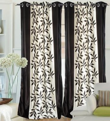 Hargunz Polyester Black Solid Eyelet Door Curtain