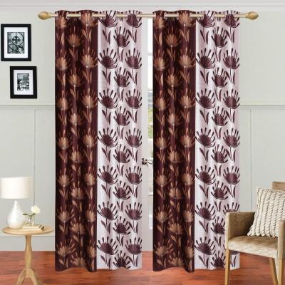 HomeTex Polyester Dark Brown Window Valance