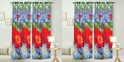 Hargunz Cotton Red, Blue Abstract Eyelet Door Curtain