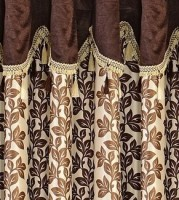 Cortina Polyester Brown Floral Eyelet Window Curtain(150 cm in Height, Single Curtain)
