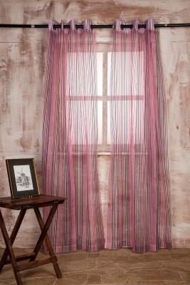 Marigold Polyester Pink Striped Curtain Long Door Curtain