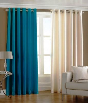 Deco Home Polyester AquaWithCream Plain Eyelet Door Curtain