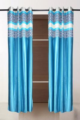 the handloom store Polyester Sky blue Plain, Self Design, Geometric Eyelet Door Curtain