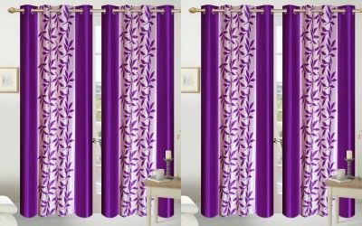 Shopgalore Polyester Purple Floral Eyelet Door Curtain