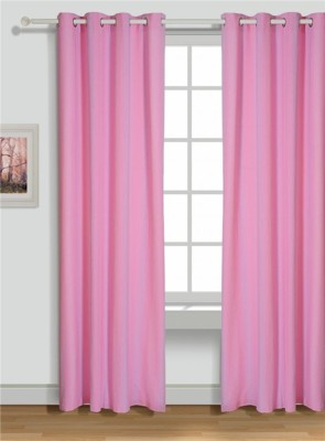 House This Cotton Pink Motif Tab Top Door Curtain