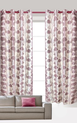 India Furnish Polycotton Wine Floral Eyelet Door Curtain