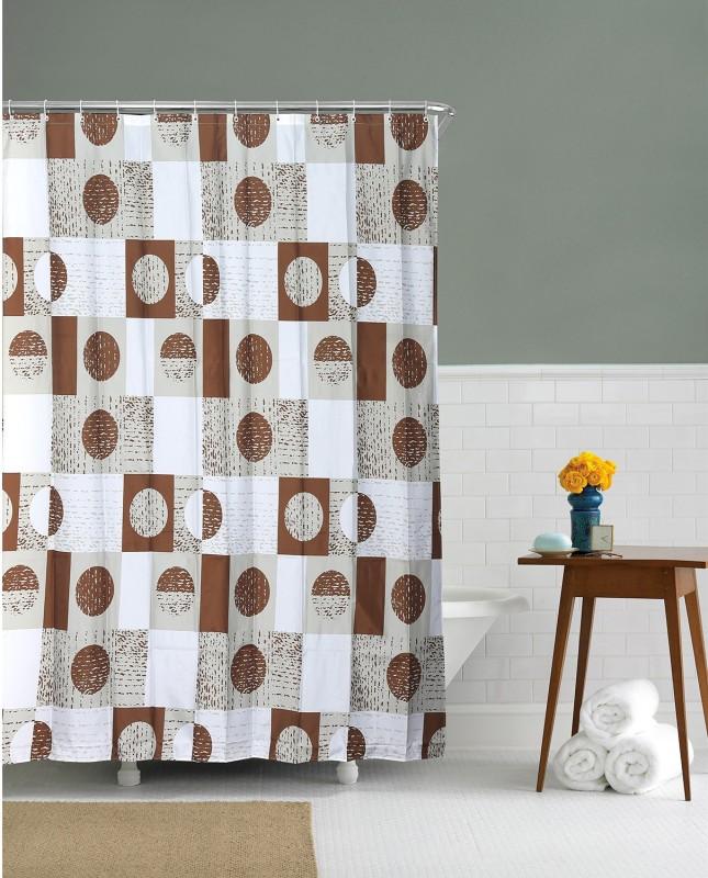 @home Ethylene Vinyl Acetate Brown Geometric Eyelet Shower Curtain(200 cm in Height, Single Curtain)