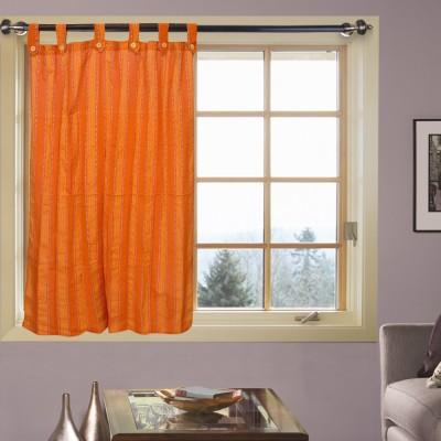 Kings Polycotton Orange Striped Tab Top Window Curtain