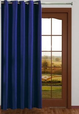 RedHot Polyester Blue Plain Eyelet Window & Door Curtain