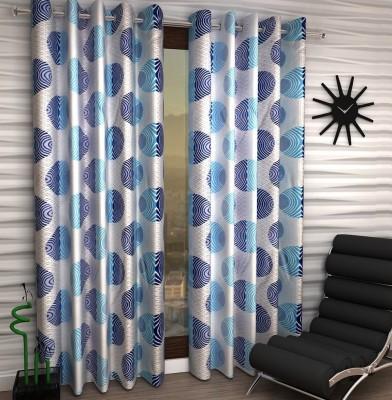 Home Fantasy Polyester Blue Geometric Eyelet Door Curtain