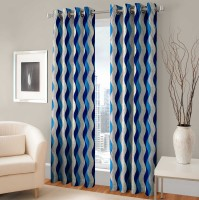 Optimistic Home Furnishing Polyester Blue Abstract Eyelet Door Curtain(213 cm in Height, Pack of 2)