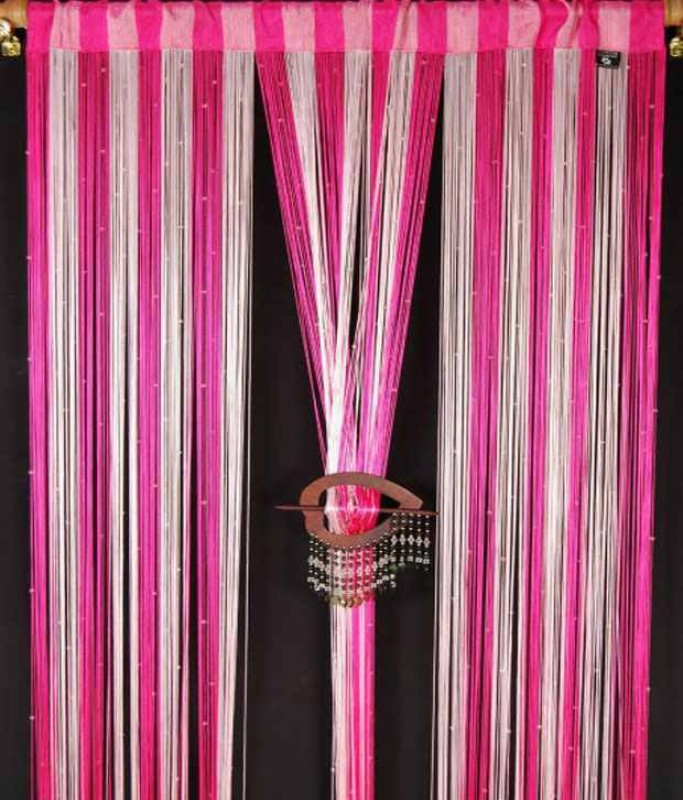 Export Hub Polyester Pink, Multicolor Self Design Rod pocket Long Door Curtain(275 cm in Height, Single Curtain)