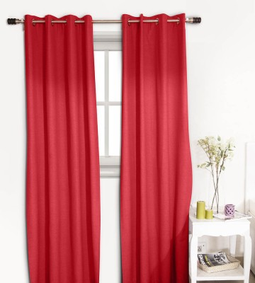 House This Cotton Red Abstract Eyelet Window Curtain