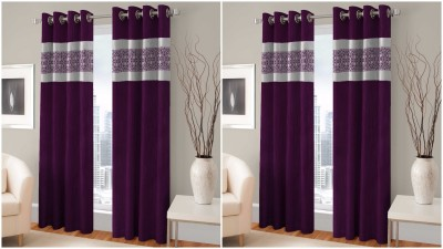 BSB Trendz Polyester Brown Printed Eyelet Door Curtain