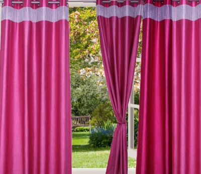 Desire Polyester Pink Plain Eyelet Door Curtain