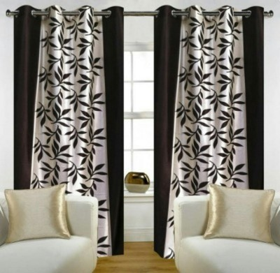 RedHot Silk Brown Floral Eyelet Window & Door Curtain