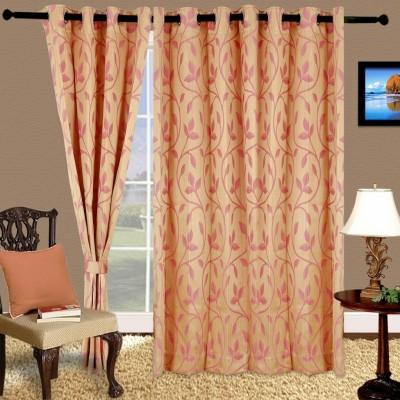 Cortina Polyester Pink Checkered Eyelet Window Curtain