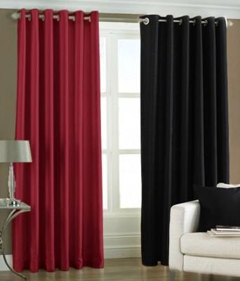 The Decor Hub Polyester Maroon, Black Plain Eyelet Window Curtain