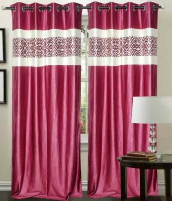 HandloomVilla Polyester Pink Floral Eyelet Door Curtain