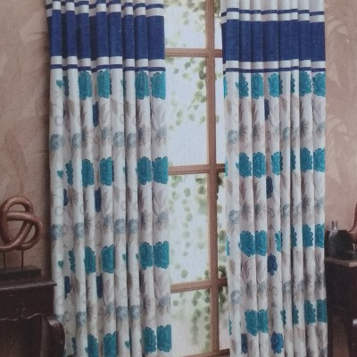 New Fabric Art Jacquard Blue Floral Eyelet Window Curtain
