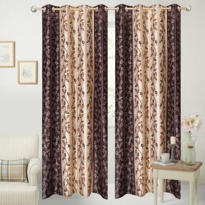 Handloom Hut Polyester Brown Liana Printed Eyelet Long Door Curtain