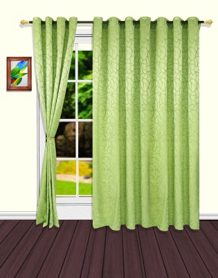 S9home by Seasons Polyester Green Abstract Eyelet Door Curtain