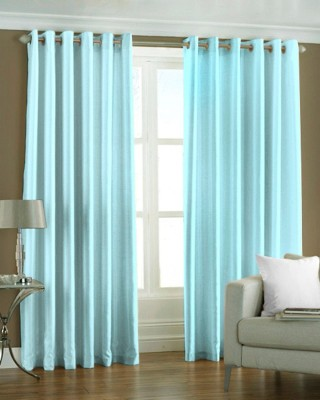 The Decor Hub Polyester SkyBlue Plain Eyelet Long Door Curtain