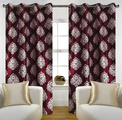 Home Candy Polyester Maroon Printed Eyelet Door Curtain