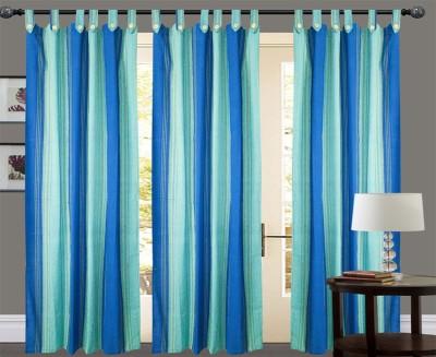 New Ladies Zone Cotton Light Blue Striped Tab Top Window Curtain