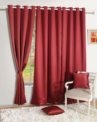 Homec Polyester Maroon Solid Eyelet Window Curtain
