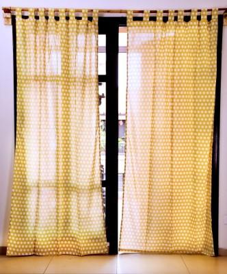 Ocean Homestore Cotton Yellow Polka Eyelet Window Curtain