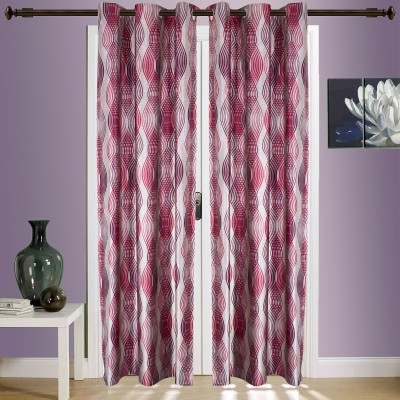 SWHF Cotton Red Striped Eyelet Window & Door Curtain
