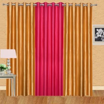 Excel Bazaar Polycotton Golden+1magenta Plain Eyelet Door Curtain