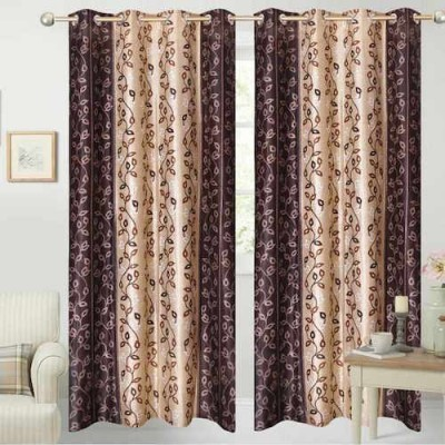 Qualityfab Polyester Brown Printed Eyelet Door Curtain