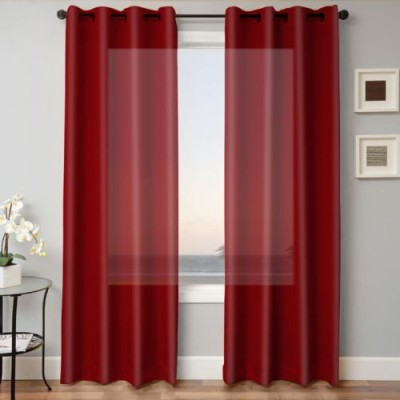 Kwality Polyester Maroon Plain Eyelet Door Curtain