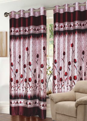 Raj Shobha Home Decor Polyester Maroon Floral Eyelet Door Curtain