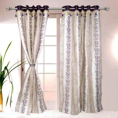I Catch Cotton BeigeAndWhite_05_3 Floral Eyelet Door Curtain